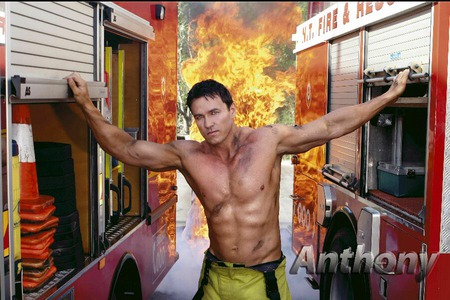 Hot fireman - fire, trucks, fireman, torso, muscles, man, fire trucks
