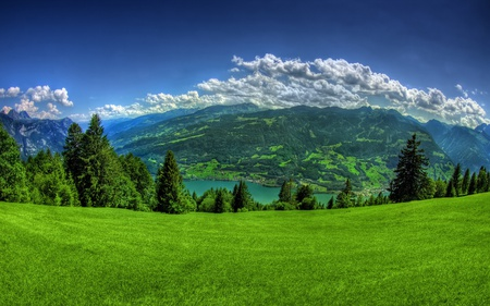 Amazing Place - amazing, forests, grass, sky, lakes, green, beautiful, mountains, nature