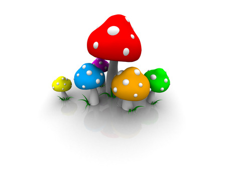 simple shrooms - colorful, mushrooms, rainbow, minimalistic, shrooms