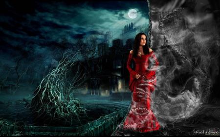 Lost souls - red dress, sky, face, dark, trees, red, beautiful, dress, woman, girl, moon, fear, night, female, black