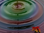 Rainbow water ripple with a leaf