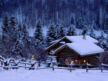 Log Cabin - christmas, cold, nature, cabin, beauty, snow, winter, ice, art, landscape, photo