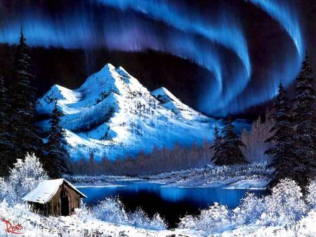 Painting by Bob Ross - Northern lights - snow, painting, northern lifgts, bob ross, mountain, trees, cabin