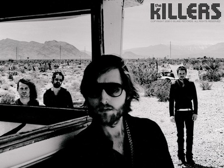 The Killers - band, the killers, black and white, american