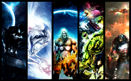 five heroes - marvel, thor, hulk, captain america, spiderman