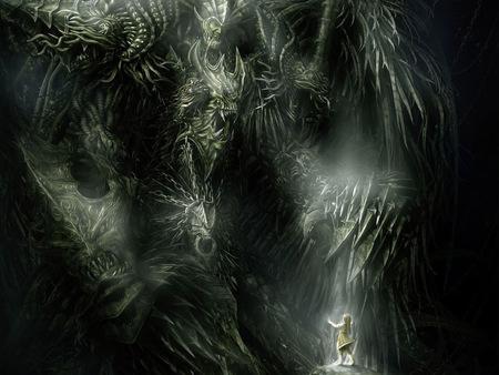 where - monster, dark art, myth, dark, magic, demon, mystic, graphics, little girl, diablo