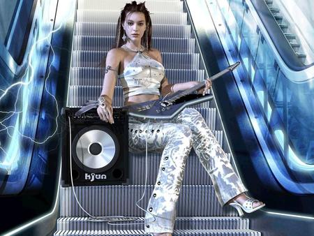 Escalator - speaker, guitar, girl, abstract, escalator, fantsy