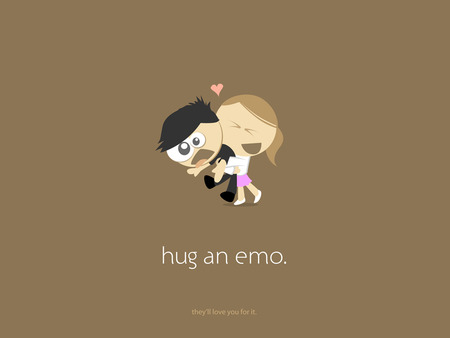 HUG EMO - brown, woman, white, emo, girl, dark, black