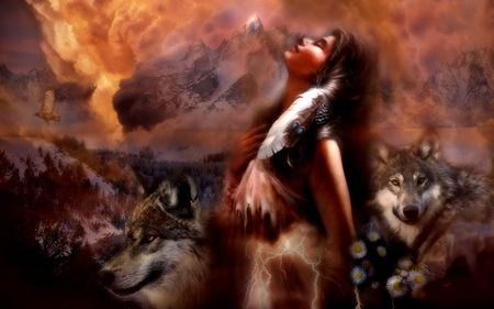 Spirit Dreams - indian, dreams, gift, native american, spirit, fire, water, lightning, mountains, air, Entropy, hawk, wolf, wolves, earth