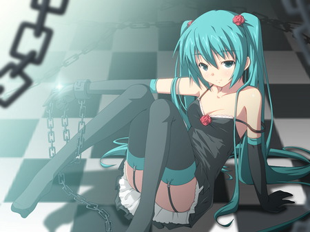 sexy miku - miku, floor, blue, nice, anime, chains, vocaloid, gothic, cute, sexy, beautiful, miku hatsune, pretty, green, checkerboard, black