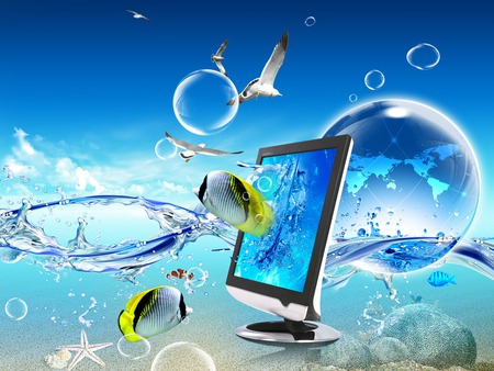 Fishtop - laptop, ocean, water, fish, sea