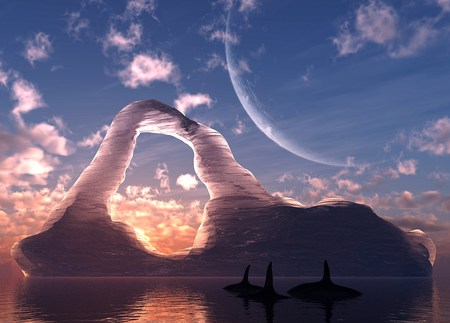 Polar swim - whales, portal, sun, ice, clouds