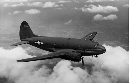 Curtiss C46 Commando - black and white, united states air force, world war two, transport aircraft