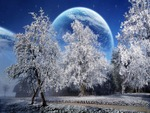 A Beautiful Winter With A Big Moon