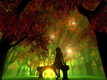 Sunrise  (3D) - colorful, silent, autumn, sun, 3d and cg, beautiful, sunset, beams, fantasy, sunrise, forest, bench, abstract, silhouette, 3d, girl, sunup