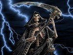 The Grim Reaper with her death scythe