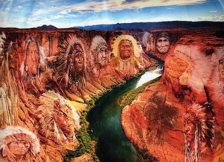 Valley of the Spirits - Art work by: James Crawford - cliffs, valley, chiefs, river, sky, clounds, indian, haunt