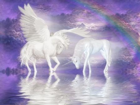 Friends Forever - unicorn, pegasus, fantasy horse, greek mythology, abstract, friends, unicornio, stallion, reflection, fantasy, rainbow, graphics, horse
