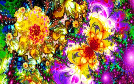 The Yellow Butterfly - glow, colorful, abstract, flowers, fractal, sparkling, butterfly