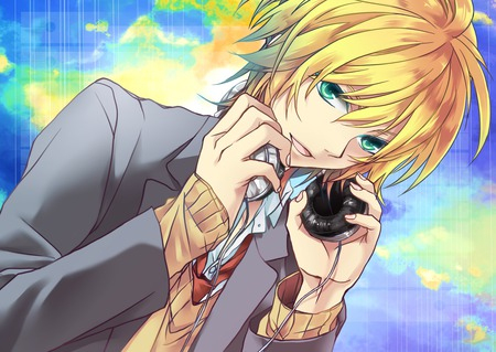 Kagamine Len - vocaloid, male, headphones, blonde hair, sexy, cute, short hair, boy, anime, dark, phone, blue eyes, kagamine len