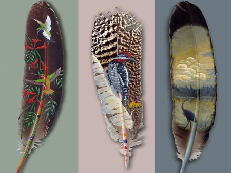 Feathers  4 - art, painting, wildlife, abstract, feathers