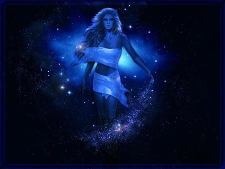 BLUE - stars, blue, female, night, magic