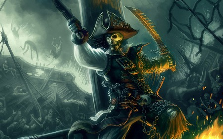 Curse of Pirate - legend, reaper, skelleton, adventure, pirate, pirates of the caribbean- armada of the damned, action, movie, weapon, grim