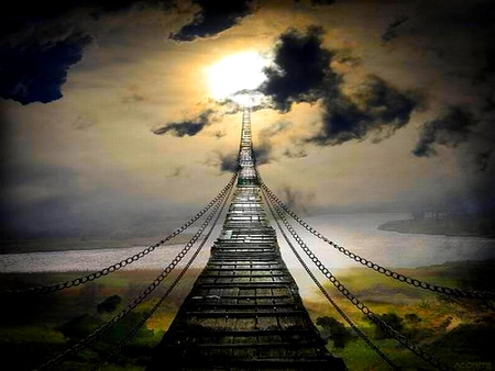 BRIDGE TO HEAVEN - sun, bridge, chained, clouds, sky, sea