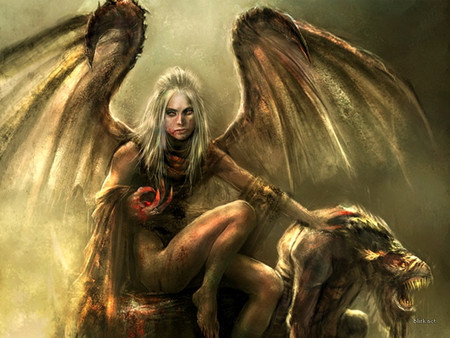 She-Demon and her Pet - art, sexy, scary, fantasy, creature, blood, monster, woman, wings, demon, horror, beast, evil, satanic