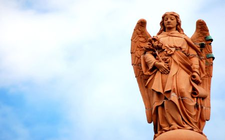 angel statue - statue, wings, angel, sky