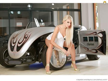 Hot Blonde Babe - classic, babe, model, hot rod