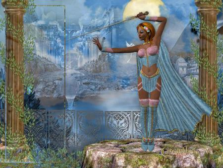 Warrior - fantasy, sky, elf, sword, abstract, lady, warrior