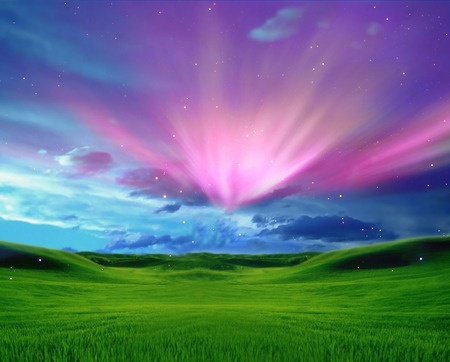 Royal Bliss - hd, grass, 3d and cg, beautiful, sunset, clouds, bliss, lights, nice, fantasy, royal, green, sunrise, pink, blue, stars, art, aurora, forces of nature, abstract, purple, aurore, violet, photoshop, white, lanscape, scarlat, grassland, field