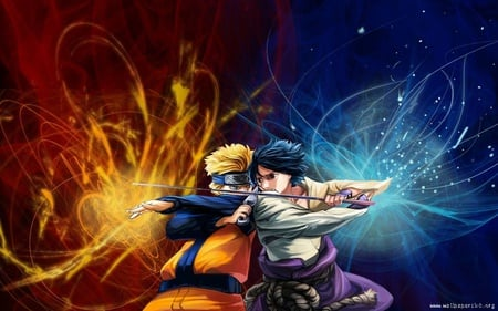 naruto vs sasuke - naruto, uchiha, painted, illustration, nice, cool, uzumaki, anime, kunai, ninja