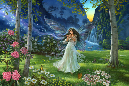 A Fairy's Melody - colorful, peaceful, peace, wonderful, sun, forest, meadow, animals, paradise, rabbit, place, flowers, flute, waterfalls, hummingbird, music, melody, water, forests, maid, swan, girl, butterflies, garden, wings, grass, painting, magic, fairy, rose, mountain, landscape, love, sunset, splendor, mountains, trees, nature, waterfall, bunny, lovely