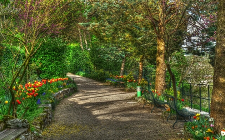 Les jardins du foyer de la Roche dOr - jardin, flower, path, peaceful, trees