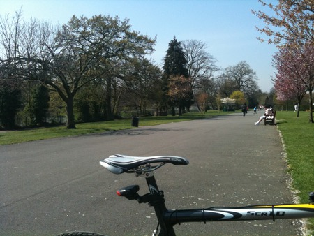 ME AND THE BIKE AT THE PARK - now a sit down, had a ride