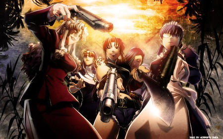 Black Lagoon Gang - guns, revi, lagoon, black, girls