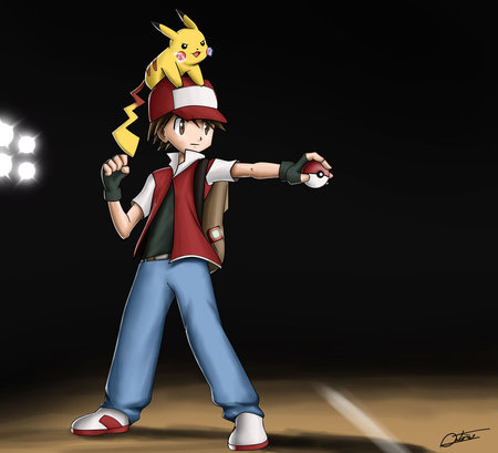 Trainer Red - anime, pokemon, red, ash