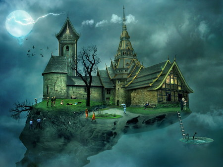 House in the sky - 3d and cg, birds, unknown, flying world, graphics, full moon, hill, its so cool, blue, sky, 3d, fantasy world, fantasy, dreamy, clouds, house, kids