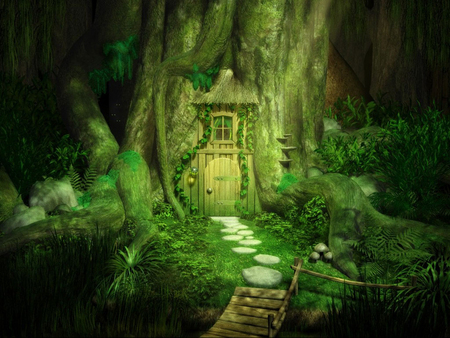The Fantasy Door - grass, fantasy, tree house, door, plants, green, trees