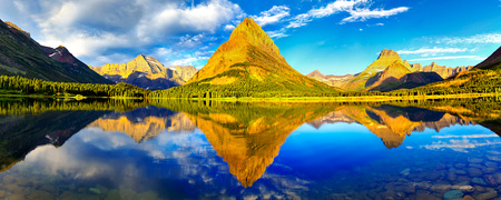 Glacier National Park (Dual) - glacier national park, dual monitor, photography, usa, montana, dual screen, reflection