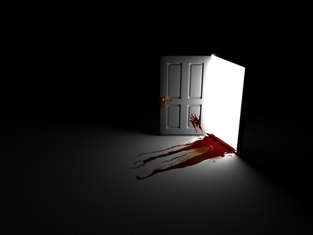 Horror - door, blood, i made a mess, bloody, horror, scary