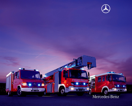German Fire Truck Mercedes Other Cars Background