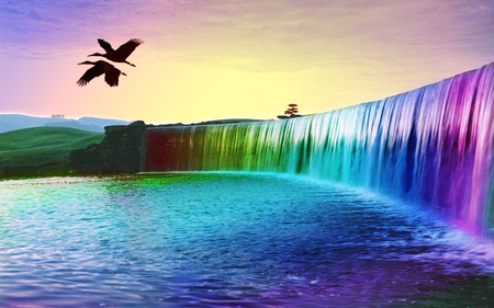 Rainbow Waterfalls Of Dreams - rainbow waterfalls of dreams, cool, colourful, birds, hot, sky
