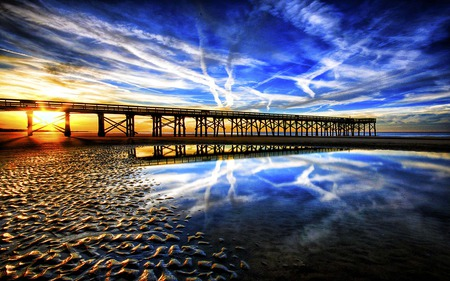 Bridge Of Blue Wonder - sunrise, reflection, river, blue, sky, bridge, glow