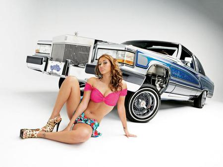 Model-Caddy Lowrider - hot, babe, caddy