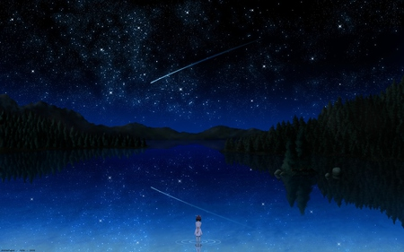 darker than black - lovely, illustration, cool, night, 3d, shooting, dark, starry, lakes, abstract, beautiful, cute, big, cg, fantasy, nice, stars, star, reflection, arts