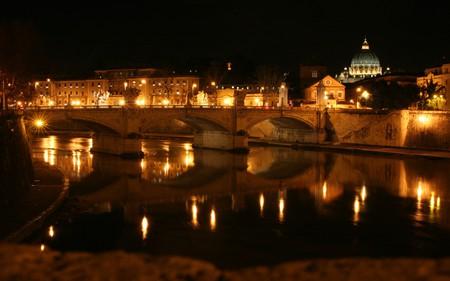 Roma - bridge, rome, bridges, architecture, houses, beautiful, roma, italy, river, lights, night