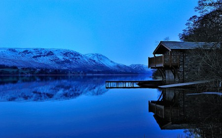 Before Sunrise - good morning, house, cottage, beautiful, splendor, beauty, sunrise, morning, reflection, blue, amazing, lovely, view, clear, houses, pier, sky, trees, lake, tree, water, mountains, peaceful, nature, blue sky, landscape